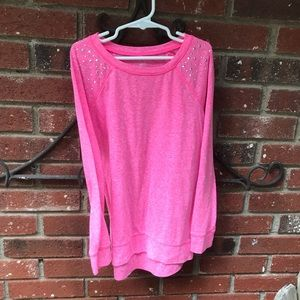 Justice long sleeve t size 8 pink/ rhinestone